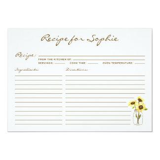 Whimsical Yellow Sunflowers Mason Jar Recipe Card
