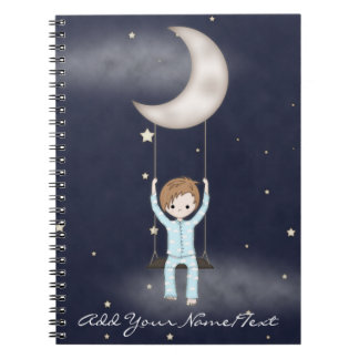 Whimsical Young Boy Swinging from the Moon Notebook