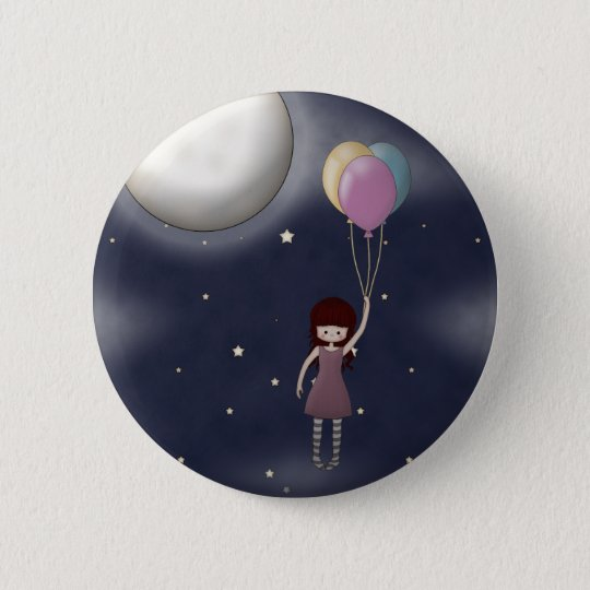Whimsical Young Flying Girl with Balloons Pinback Button