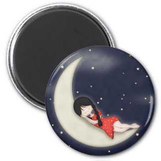 Whimsical Young Girl Asleep on the Moon 2 Inch Round Magnet