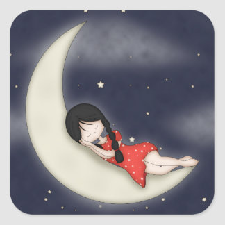 Whimsical Young Girl Asleep on the Moon Square Stickers