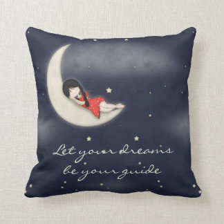 Whimsical Young Girl Asleep on the Moon Throw Pillow