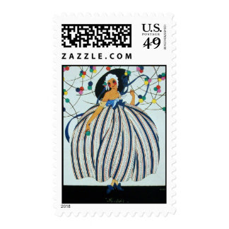 WHIMSICAL YOUNG GIRL / Beauty Fashion Postage Stamp