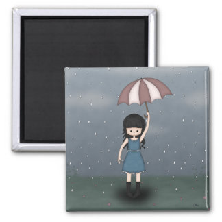 Whimsical Young Girl in the Rain Illustration 2 Inch Square Magnet
