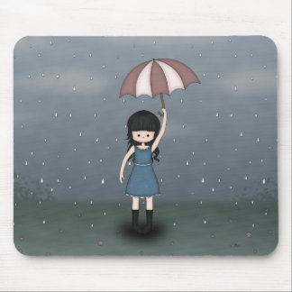 Whimsical Young Girl in the Rain with Umbrella Mouse Pad