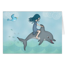 Whimsical Young Girl Riding upon a Dolphin