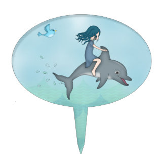 Whimsical Young Girl Riding upon a Dolphin Cake Topper