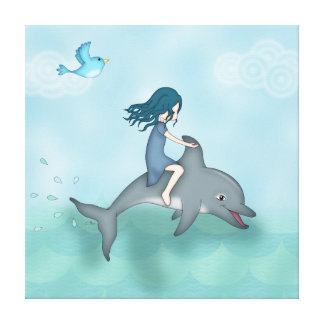 Whimsical Young Girl Riding upon a Dolphin Stretched Canvas Prints