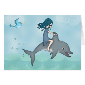 Whimsical Young Girl Riding upon a Dolphin Card