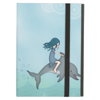 Whimsical Young Girl Riding upon a Dolphin Cover For iPad Air