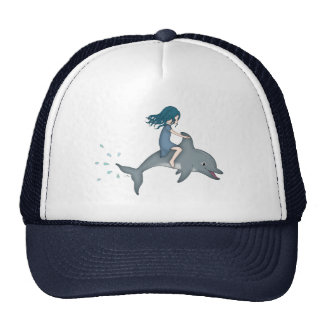 Whimsical Young Girl Riding upon a Dolphin Trucker Hat