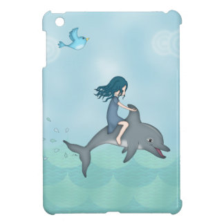 Whimsical Young Girl Riding upon a Dolphin iPad Mini Case