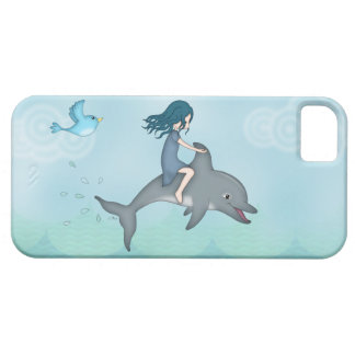 Whimsical Young Girl Riding upon a Dolphin iPhone SE/5/5s Case