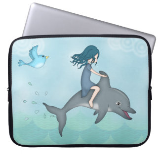 Whimsical Young Girl Riding upon a Dolphin Laptop Sleeve