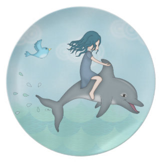 Whimsical Young Girl Riding upon a Dolphin Dinner Plate