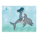 Whimsical Young Girl Riding upon a Dolphin Post Card