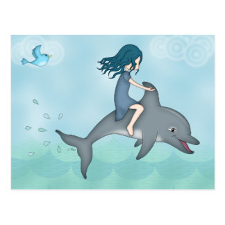 Whimsical Young Girl Riding upon a Dolphin Postcard