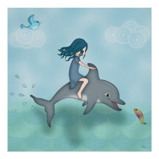 Whimsical Young Girl Riding upon a Dolphin Poster