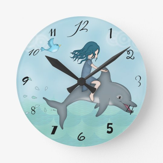 Whimsical Young Girl Riding upon a Dolphin Round Clock
