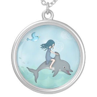 Whimsical Young Girl Riding upon a Dolphin Round Pendant Necklace