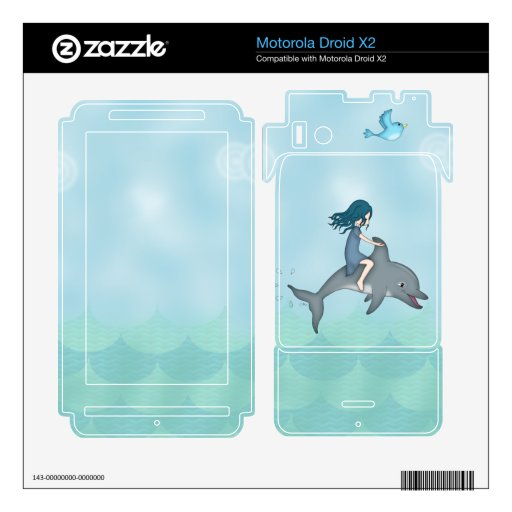 Whimsical Young Girl Riding upon a Dolphin Motorola Droid X2 Decal