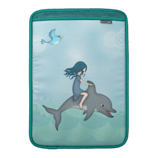 Whimsical Young Girl Riding upon a Dolphin Sleeve For MacBook Air