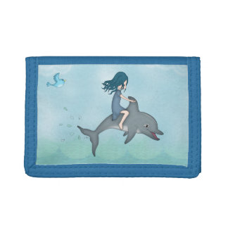 Whimsical Young Girl Riding upon a Dolphin Trifold Wallets