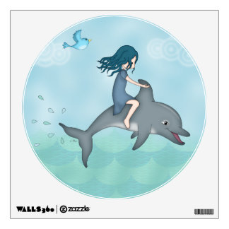 Whimsical Young Girl Riding upon a Dolphin Wall Stickers