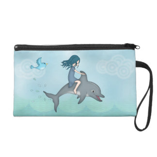 Whimsical Young Girl Riding upon a Dolphin Wristlet