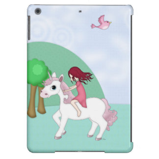 Whimsical Young Girl Riding upon a Unicorn iPad Air Cases