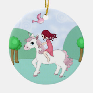 Whimsical Young Girl Riding upon a Unicorn Ceramic Ornament