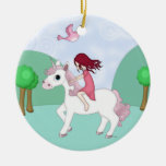 Whimsical Young Girl Riding upon a Unicorn Double-Sided Ceramic Round Christmas Ornament