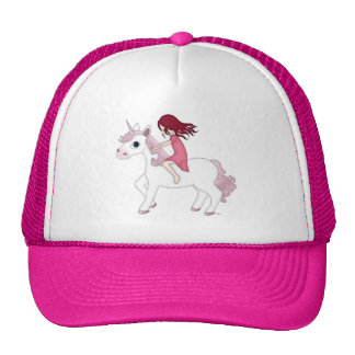 Whimsical Young Girl Riding upon a Unicorn Mesh Hat