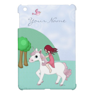 Whimsical Young Girl Riding upon a Unicorn iPad Mini Cases