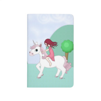 Whimsical Young Girl Riding upon a Unicorn Journal