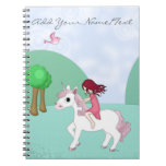 Whimsical Young Girl Riding upon a Unicorn Note Books