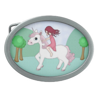 Whimsical Young Girl Riding upon a Unicorn Oval Belt Buckle