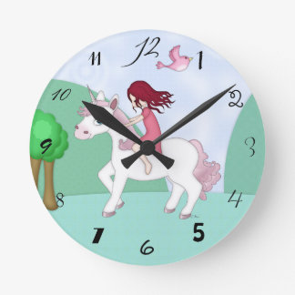 Whimsical Young Girl Riding upon a Unicorn Round Clock