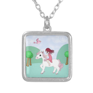 Whimsical Young Girl Riding upon a Unicorn Square Pendant Necklace