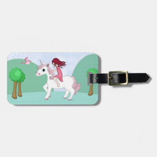Whimsical Young Girl Riding upon a Unicorn Tag For Luggage