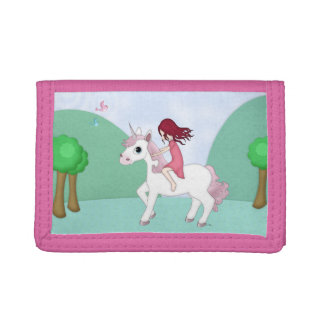 Whimsical Young Girl Riding upon a Unicorn Tri-fold Wallets