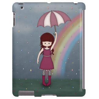 Whimsical Young Girl Standing in Colorful Rain