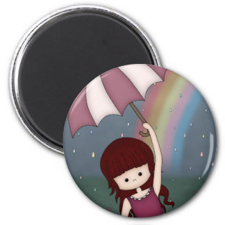 Whimsical Young Girl Standing in Colorful Rain 2 Inch Round Magnet