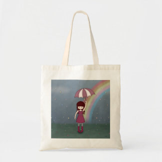 Whimsical Young Girl Standing in Colorful Rain Tote Bags
