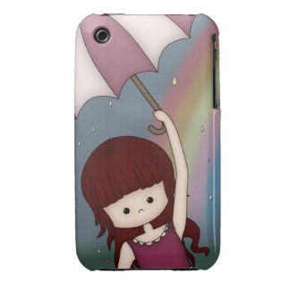 Whimsical Young Girl Standing in Colorful Rain iPhone 3 Case-Mate Cases