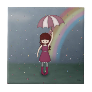 Whimsical Young Girl Standing in Colorful Rain Ceramic Tile