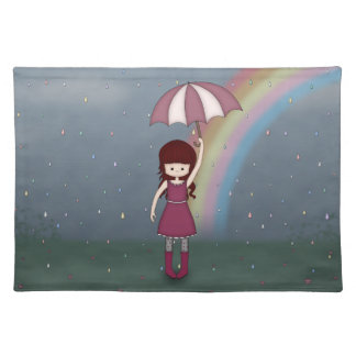 Whimsical Young Girl Standing in Colorful Rain Cloth Placemat