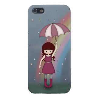 Whimsical Young Girl Standing in Colorful Rain Cover For iPhone SE/5/5s