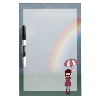 Whimsical Young Girl Standing in Colorful Rain Dry Erase Boards