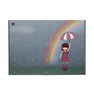 Whimsical Young Girl Standing in Colorful Rain iPad Mini Covers